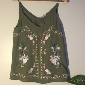 NWT Dex Green Embroidered Tank Top.